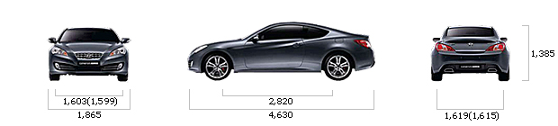 размеры hyundai GENESIS COUPE 200 Turbo P M/T