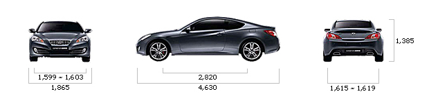 размеры hyundai GENESIS COUPE 200 Turbo D A/T