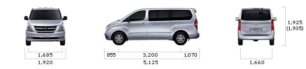 длина и ширина высота hyundai starex