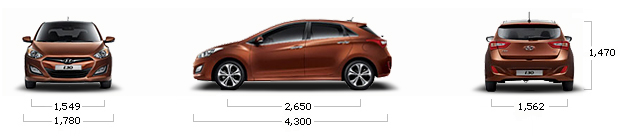 размеры hyundai I30 1.6 VGT Unique A/T