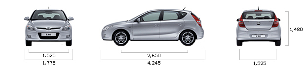 размеры hyundai I30 gasoline 1.6 VVT World Cup Special Edition A/T