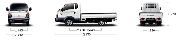 размеры hyundai PORTER 2 CRDi Super Cap Height Axis PLUS A/T