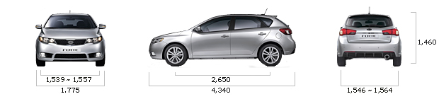 размеры kia FORTE HATCHBACK GDI Luxury M/T