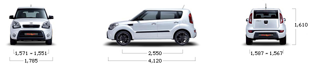 размеры kia SOUL gasoline 1.6 GDI Deluxe A/T
