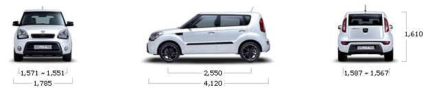 размеры kia SOUL gasoline 1.6 GDI Luxury Style Pack A/T