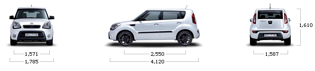 размеры kia SOUL gasoline 1.6 GDI Luxury ECO Plus A/T