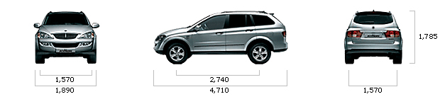 размеры ssangyong KYRON 2WD LV6 5-мест BROWN Edition A/T