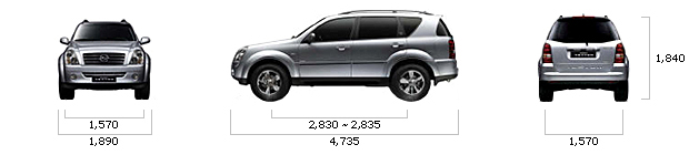 размеры ssangyong REXTON AWD Out-door Edition A/T