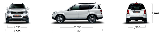 размеры ssangyong REXTON W 4WD RX7 BROWN SPECIAL A/T