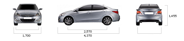 размеры hyundai ACCENT 1.4 VVT Luxury M/T